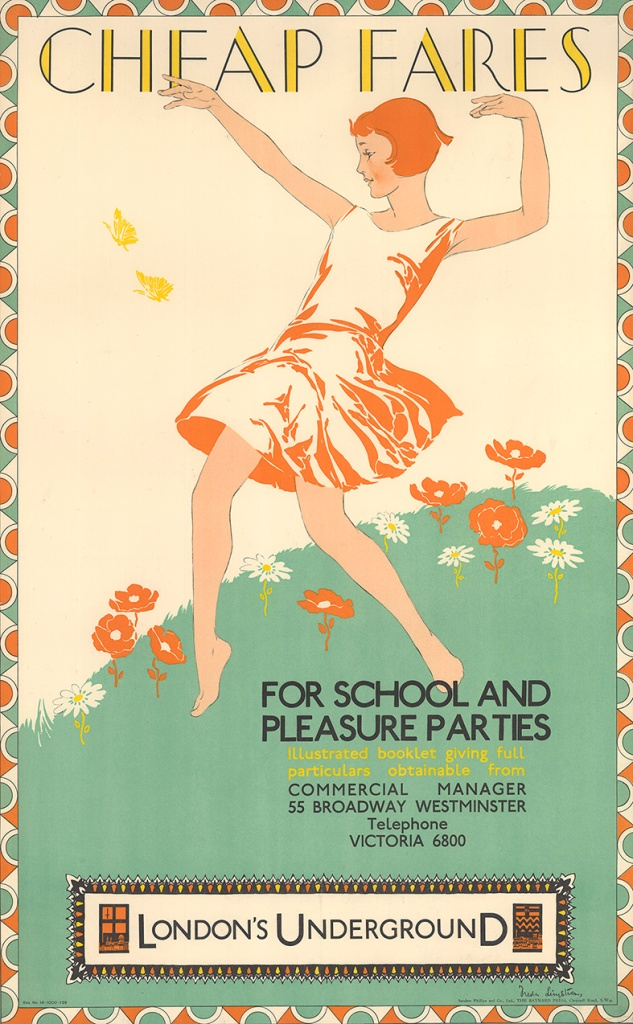 Freda Lingstrom, Cheap fares for school and pleasure parties (1929). © TfL from the London Transport Museum collection